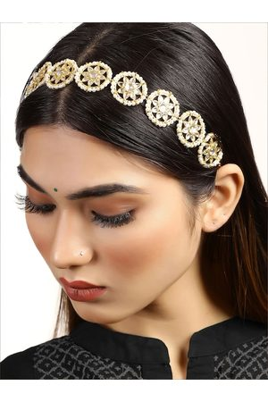 KARATCART Women Gold-Toned & White Embellished Hairband
