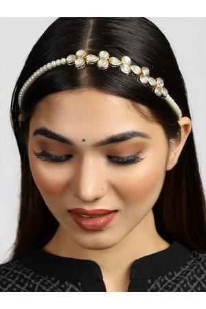 karatcart Women Hair Accessories - Women White Kundan and Pearl Studded Hairband