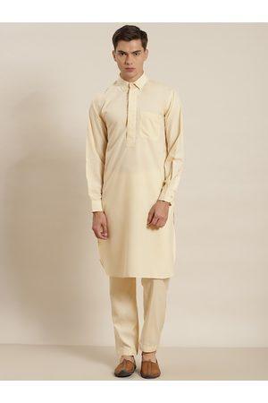 SOJANYA Men Cream-Coloured Solid Pure Cotton Regular Pathani Kurta with Salwar