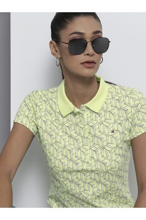 Tommy Hilfiger Women Yellow Printed Polo Collar Slim Fit T-shirt