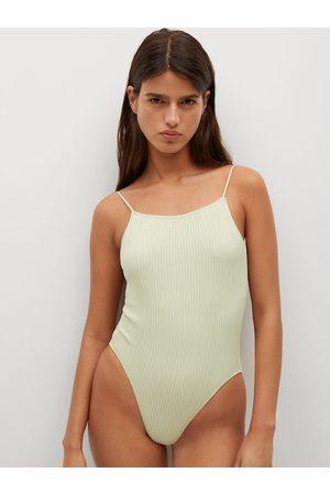 MANGO Women Green Self Design Stretchable Bodysuit