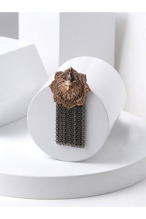 COSA NOSTRAA Men Copper-Toned & White Stone-Studded Emperor Lion Statement Brooch
