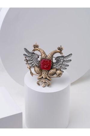 COSA NOSTRAA Men Gold-Toned & Metallic Red Stone-Studded Russian Emblem Brooch