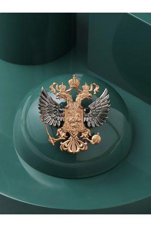 COSA NOSTRAA Men Metallic & Gold-Toned Antique State Emblem Brooch