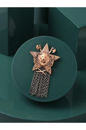 COSA NOSTRAA Men Gold Merit Lion Brooch
