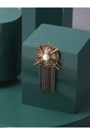 COSA NOSTRAA Men Copper-Toned & White Beaded The Shield Statement Brooch