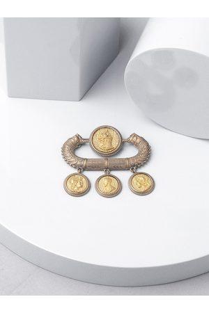 COSA NOSTRAA Men Gold Classical Coin Brooch