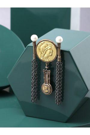 COSA NOSTRAA Men Brass Denarius Coin Brooch