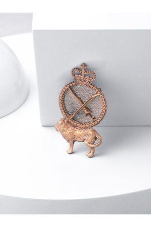COSA NOSTRAA Men Metallic & Gold -Toned Brass Lion shield Brooch