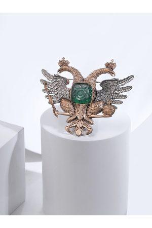 COSA NOSTRAA Men Gold-Toned & Metallic Stone-Studded Brooch