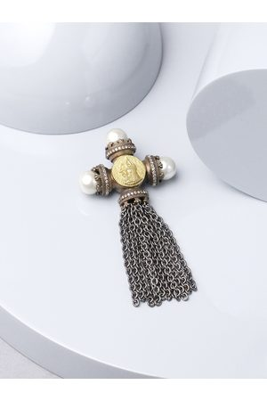 COSA NOSTRAA Men Copper-Toned & Silver-Toned Beaded Russian Prince Statement Brooch