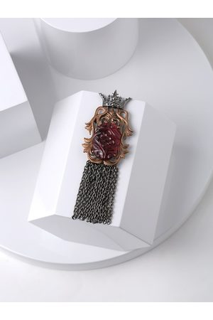 COSA NOSTRAA Men Antique Gold-Plated Red Stone-Studded Crown Brooch