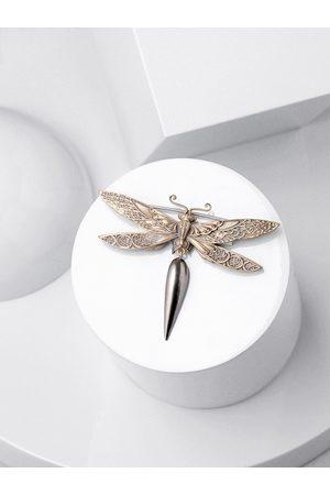 COSA NOSTRAA Men Antique Gold-Toned Dragonfly Brooch