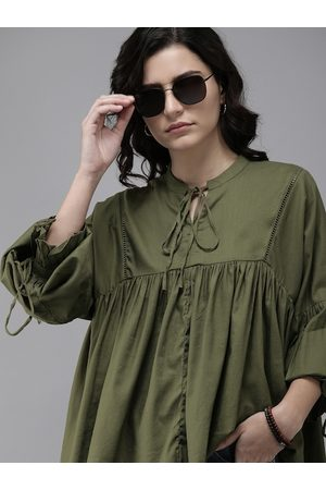 Roadster Olive Green Tie-Up Neck Empire Top