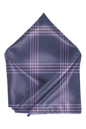 Blacksmith Men Blue & Purple Checked Pocket Square