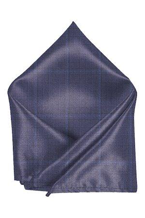 Blacksmith Men Navy Blue & Brown Tweed Checked Pocket Square