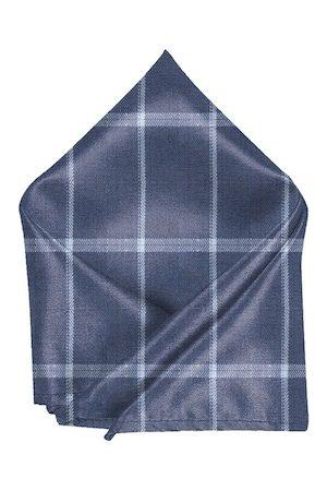 Blacksmith Men Blue & Grey Checked Pocket Square