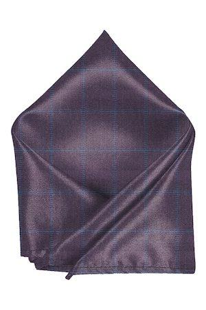 Blacksmith Men Purple & Blue Checked Pocket Square