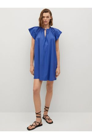 MANGO Blue Solid Tie-Up Neck Gathered A-Line Dress