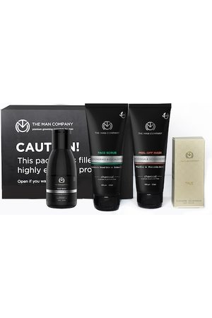 THE MAN COMPANY Men DeTan Face Kit-Charcoal Peel off Mask, Scrub, Face Wash & Talc Perfume
