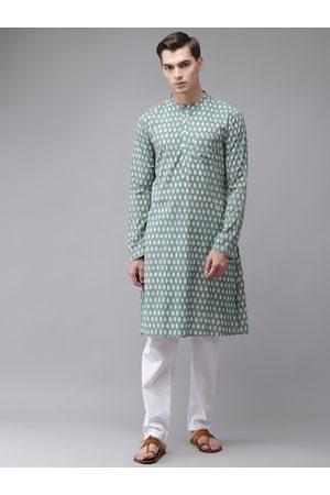 See Designs Men Green Ethnic Motifs Printed Regular Pure Cotton Kurta with Pyjamas
