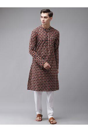 See Designs Men Maroon Ethnic Motifs Printed Regular Pure Cotton Kurta with Pyjamas