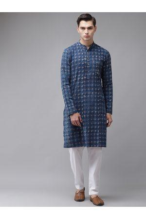 See Designs Men Blue Ethnic Motifs Printed Regular Pure Cotton Kurta with Pyjamas