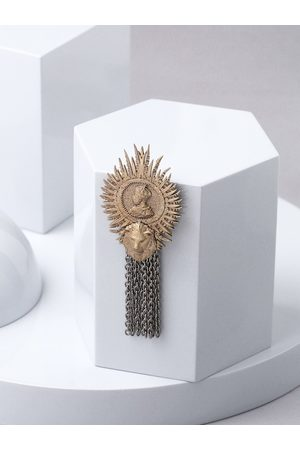 COSA NOSTRAA Men Gold-Toned & Silver-Toned Majesty King Brooch