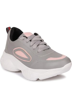 Longwalk Women Grey & Pink Colourblocked PU Walking Shoes