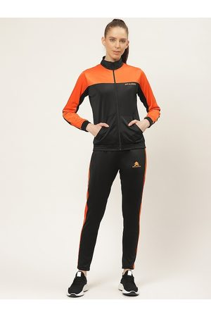 OFF LIMITS Women Charcoal Grey & White Colourblocked Tracksuit