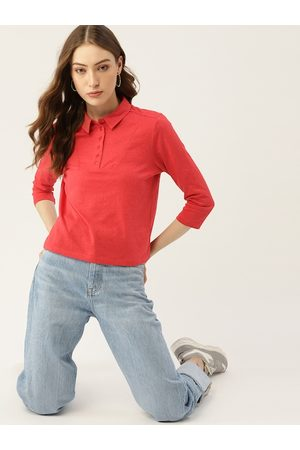 DressBerry Women Red Solid Polo Collar T-shirt