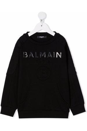 Balmain Kids Debossed logo cotton sweatshirt