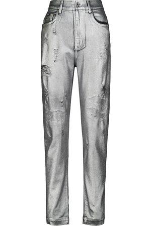 Dolce & Gabbana Amber distressed jacquard-pocket jeans