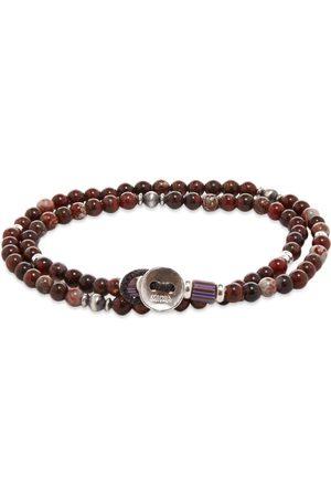 Mikia Men Bracelets - Double-Wrap 4mm Stone Bracelet