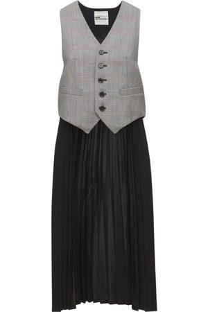 NOIR KEI NINOMIYA Check Wool Vest W/ Pleated Satin Panels