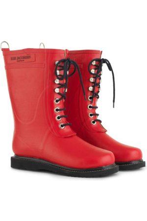 Ilse Jacobsen Medium Length Rubber Lace Up Wellington Boots Deep RUB 15 303