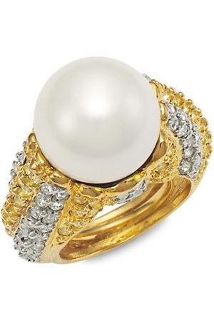 Kenneth Jay Lane Goldtone Faux Pearl & Pavé Adjustable Ring