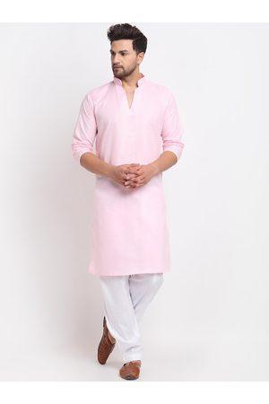 Benstoke Men Pink Regular Kurta with Salwar