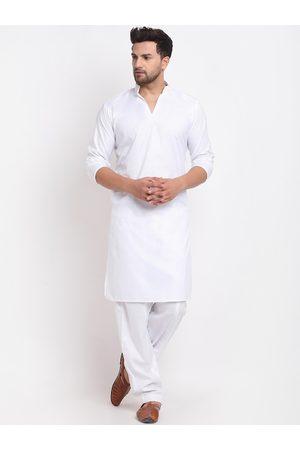 Benstoke Men White Regular Kurta with Salwar