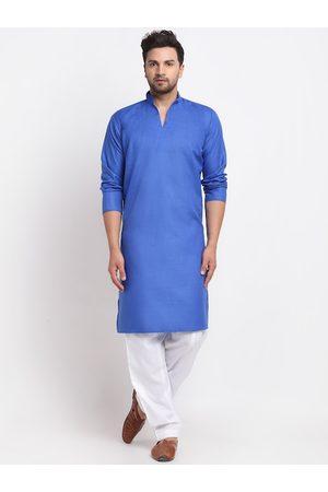 Benstoke Men Solid Blue & White Regular Kurta with Salwar