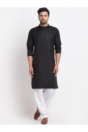 Benstoke Men Black & White Regular Kurta with Salwar
