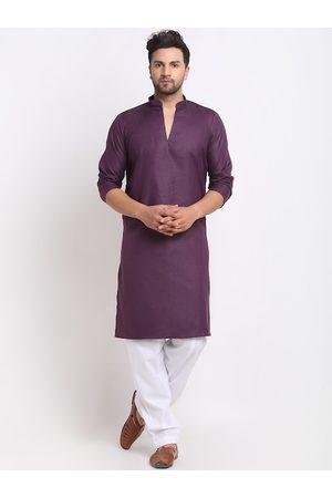 Benstoke Men Purple Pleated Kurta with Salwar