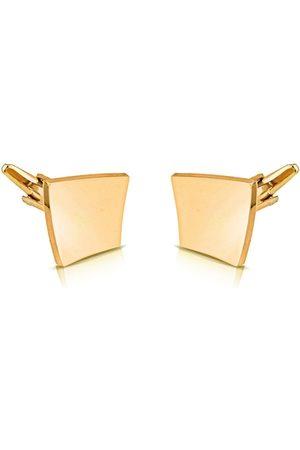 PELUCHE Men Gold Checked Cufflinks