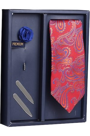 PELUCHE Men Maroon & Blue Woven Design Broad Tie with Brooch & Collar Stay