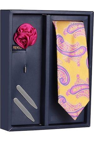 PELUCHE Men Neckties - Men Yellow & Purple Woven Design Broad Tie with Brooch & Collar Stay