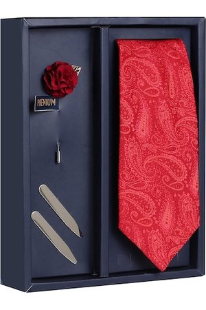 PELUCHE Men Red Woven Design Broad Tie with Brooch & Collar Stay