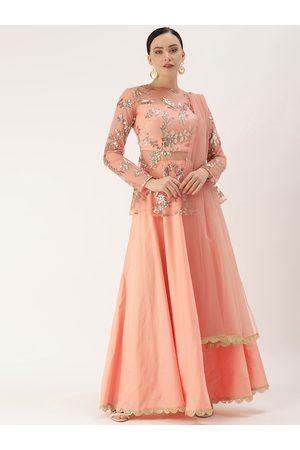 EthnoVogue Women Peach-coloured & Golden Made To Measure Lehenga Choli With Dupatta