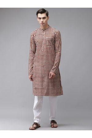 See Designs Men Beige Ethnic Motifs Printed Regular Pure Cotton Kurta with Pyjamas
