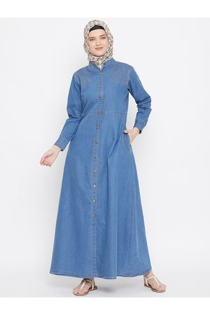 MOMIN LIBAS Blue Denim Front Open Abaya Burqa