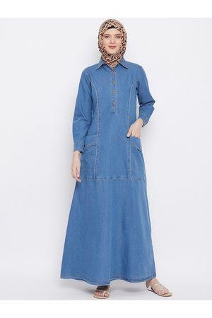MOMIN LIBAS Women Blue Denim Style Abaya Burqa